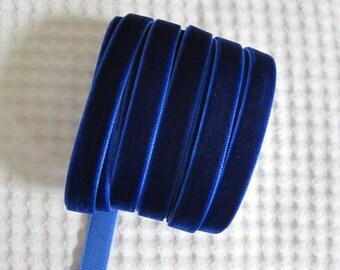 3 Yards Royal Blue Velvet Ribbon 3/8 inch - 29