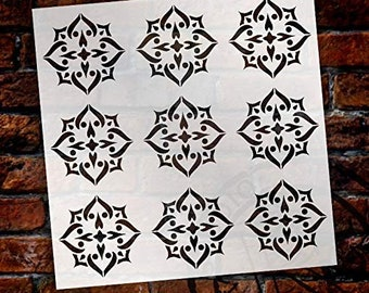 Mandala - Spades - 9 Tile Pattern Stencil by StudioR12   Reusable Mylar Template   Use to Paint Wood Signs - Pallets - Pillows - Wall Art...