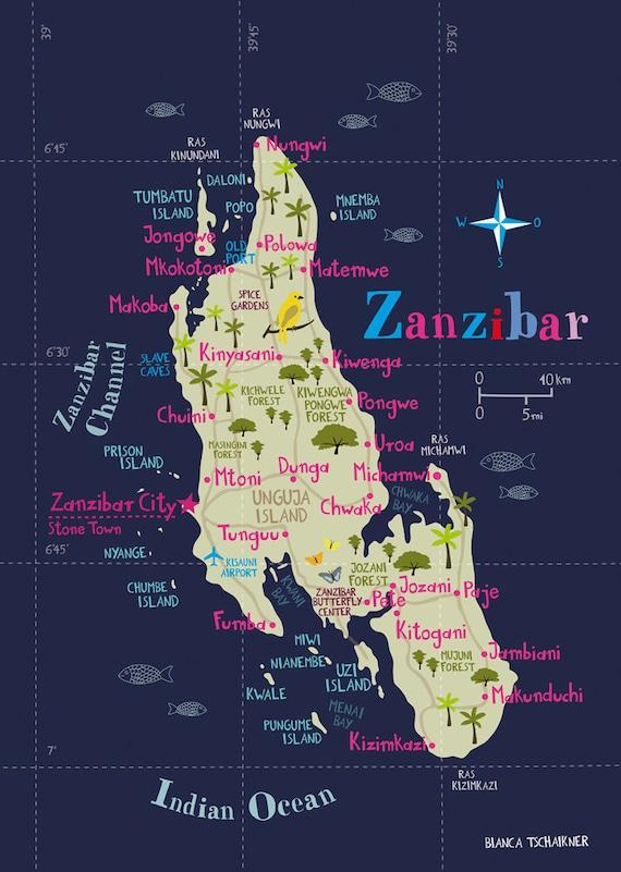 Illustrated Map of Zanzibar Limited Edition Print A3 1169 x