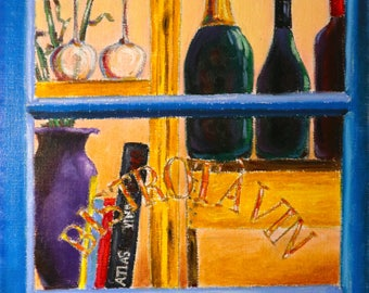 The window of the bar (oil pastel and pencil on paper 290 GSM, framed with glass)