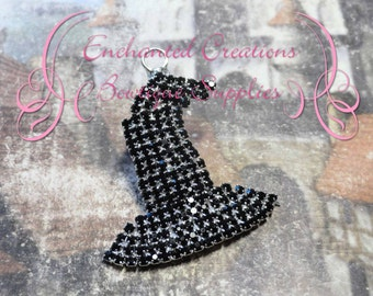 """1 3/4"""" Black and Silver Rhinestone Witch Hat Pendant, Halloween"""