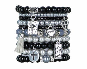 Beaded Bracelets Set of 10 Stretch Bracelets Bohemian Themed Stack with Silver Tone Charms and Tassel in Classic Black and Silver Greys