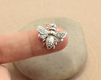 Large Sterling Silver Honey Bee Charm -- 1 Piece... HBA1162