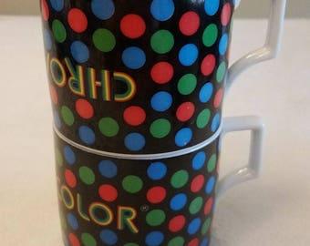 Rare Set 2 Lot Error Vtg 1960'S Zenith Chromacolor TV Coffee MUG AD Polka Dot
