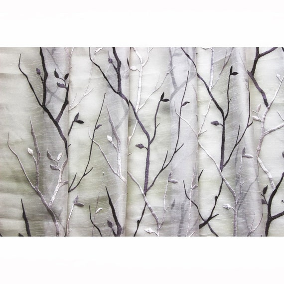 Purple Wine N Lavender Trees Embroidered Sheer Curtain Fabric