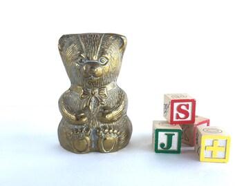 S A L E  Vintage Brass Teddy Bear Piggy Bank, Vintage Brass Bear Bank Nursery Decor