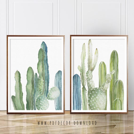 Set of 2  Cactus Prints, Set of 2, Cactus, Set of 2 Wall Art, Cacti Wall art, Modern Art, Watercolor Cactus Set, Wall Art, Digital Download