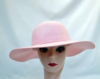 Pink Wide Brim Larger Head Size Wool Felt Hat /  Lady Gaga Blush Pink Wide Brim Hat / Boho Hat / Hippy Wide Brim Hat / Mod Pink Felt Hat