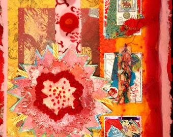 Wild in Red & Pink Mixed Media Collage