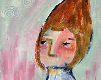 "Taissa - 8x10"" Original Primitive Portrait painting"