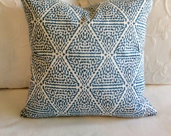 Miguel Azure blue pillow cover 18x18 20x20 22x22 24x24 26x26 13x26 12x20