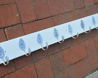 8 Personalized Spoon Hooks Coat Rack in Any Finish Recycled Silverware