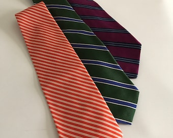 Three Silk Ties, Brooks Brothers, Vintage 100% Silk Woven In England Made in USA, Stripes Green Orange Maroon
