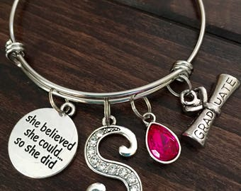 College Graduation gift, Graduate Gift, She believed she could so she did, Initial Jewelry, Diploma, Birthstone Jewelry, Personalized gift