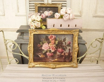 French Dollhouse in 1:12th scale, Miniature Frame in M, Romantic Roses, Colletal, Distressed Goldectible Accessory