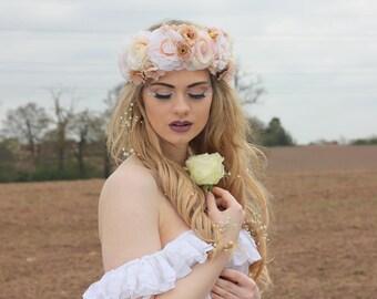 Nude pink flower crown, flower garland, Lana Del Ray, Wedding headpiece, nature inspired, vintage inspired, rustic rose, love.