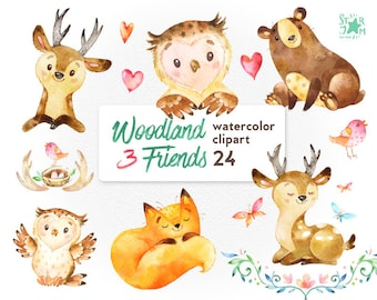 Woodland Friends 3. Watercolor animals clipart, fox, forest, deer, bear, owl, bird, butterfly, greeting, invite, flower, wreath, diy, banner