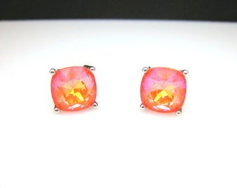 christmas prom bridal wedding bridesmaid gift Swarovski neon candy ultra orange ab square cushion cut foiled rhinestone silver stud earrings