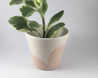 modern abstract peach and white planter