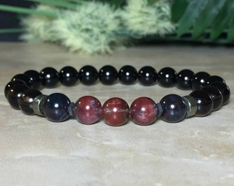 8mm Genuine Auralite-23 Bracelet, African Sugilite, Smoky Quartz, Black Tourmaline Bracelet, Release of Anxiety, Protection, Healing