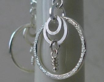 Dangle Earrings, Sterling Silver, Rustic Hoops, Rustic Knots, Hoops Earrings, Organic Texture, Bohemian Jewelry, Earthy Lunar Moon Puzzle