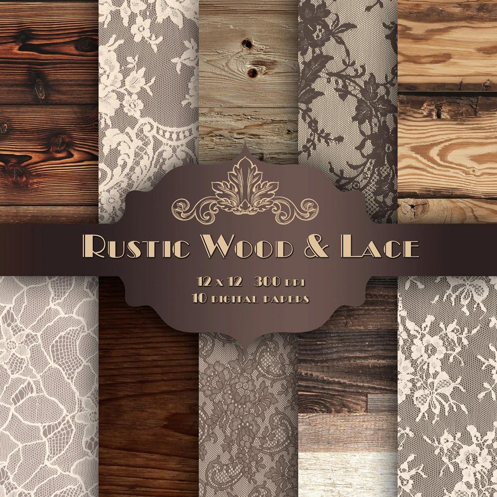 Rustic Brown Wood LACE Digital Paper Pack Vintage Wedding