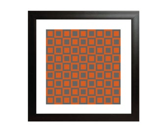 Orange & Grey Squares OP Art Print - Square Op Art Poster - Geometric Wall Art
