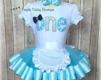 ONE First Birthday Double Ribbon Trim Tutu Outfit - First Birthday Outfit - Birthday Tutu Set - Light Blue Birthday Outfit w Removable Apron