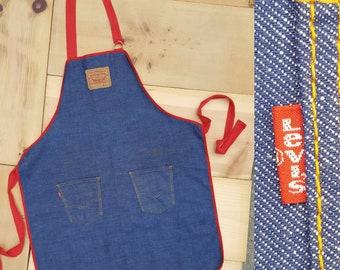 Vintage LEVI'S Apron  //  1970s 1980s Vtg Distressed Levis Now Designs San Francisco Workwear Shop Apron