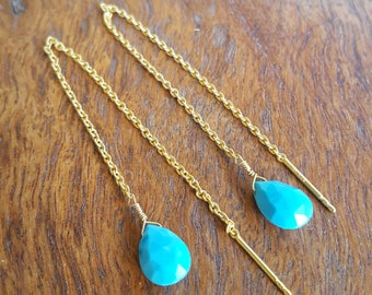 14K Gold Vermeil Turquoise Threader Earrings