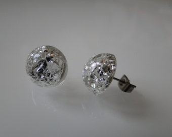 Cast resin with silver leaf earrings
