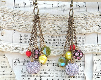 ball earrings tassel assemblage upcycled vintage jewelry rhinestone bling glam flea market jewelry one of a kind