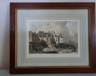 """Antique French Framed Engraving Etching """"Recouvrance a Brest""""  Brittany Town Scene 13.5x11"""""""