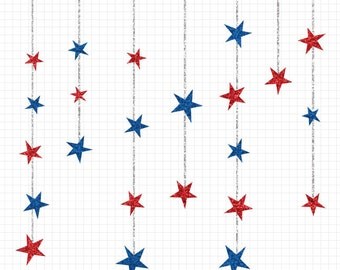 USA Stars Glitter Clip Art Red White and Silver Stars Commercial Use Clipart