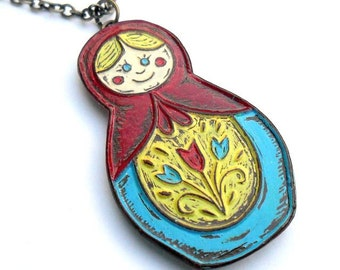 Red, Blue and Yellow Matroyshka Doll Necklace - You're a Doll