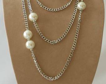 Layered Necklace, Silver and pearl necklace, Gift for her, Everyday use, Chain and pearl necklace, Birthday gift