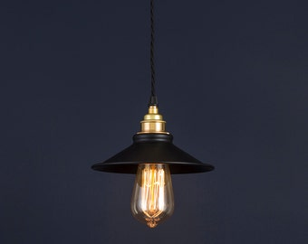 Vintage Industrial Pendant Light Edison Matte Black and Brass Vintage Retro with Twisted Black Fabric Cable