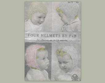 Four Helmet Patterns for Children Up To 18 months - PDF- Repurposed knitting Pattern