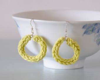 Pistachio Cotton Hoop Earrings - Knitted Light Green Silver Plated Dangle Earrings Colourful Jewellery Gift for Her by Emma Dickie Design