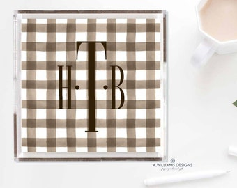 Gingham personalized Lucite Tray/Acrylic Tray Monogrammed Gingham Tray Personalized organizer catchall Tray Custom Tray Serving in 6X6/12X12