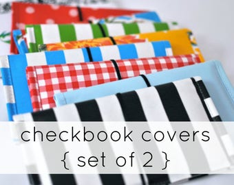 checkbook covers (2) RETIRED PRINTS // Two Oilcloth Checkbook Covers - many colors