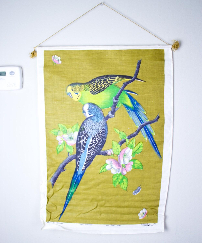 70\'s Large Pure Linen Vibrant Parakeet Wall Hang / Wall
