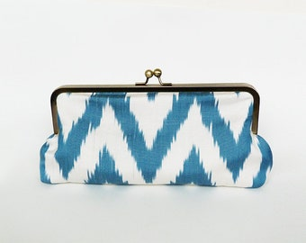 Clutch bag, ikat fabric, blue and white silk ikat design, evening purse