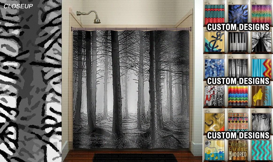 Fifty Shades Of Gray Woodland Forest Trees Shower Curtain