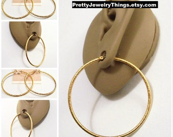 "Avon 2 1/8"" Frosted Hoops Pierced Stud Earrings Gold Tone Vintage Pebbled Textured Thin Rib Open Big Rings Surgical Steel Posts"