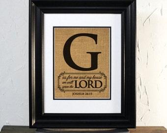 Joshua 24:15 Custom Burlap Initial Family, Wall Decor. Unframed.