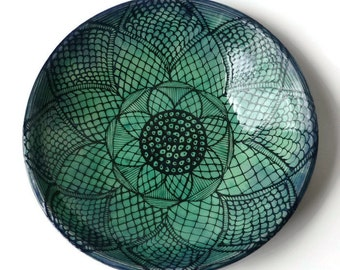 Large Turquoise and Black Serving Bowl with Doodle Design