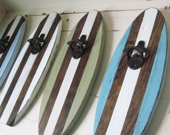 Custom Dark Stain with Natural Stripes Surfboard Wall Mount Bottle Opener