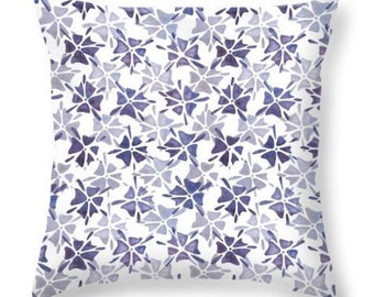 Stencilled flower pillow, navy blue pillow, indigo flower pillow, home decor blue cushion cover, floral decorative pillow, blue sofa pillow