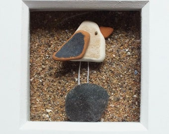 Scottish Sea Pottery and Sea Glass Bird Picture - Beach Decor - Bird Lovers Gifts - Handmade in Scotland - Birdwatcher - Coastal Interiors